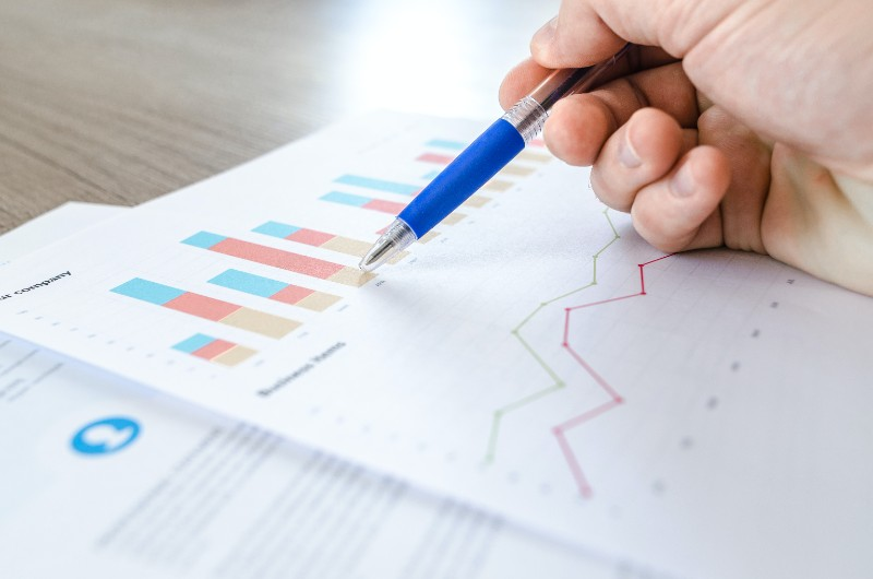 Person Holding Blue and Clear Ballpoint Pen while reading financial statement